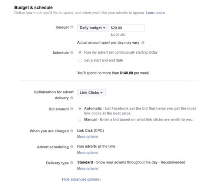 facebook ads budget schedule