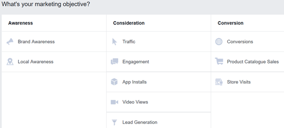 facebook ads - marketing objective