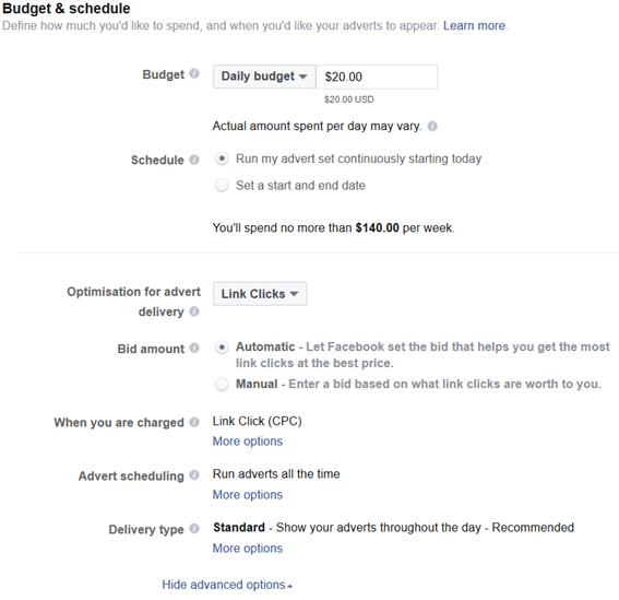 facebook ads бюджет и стратегии