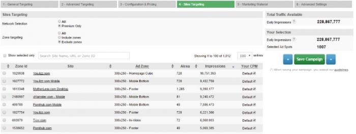 sites targeting
