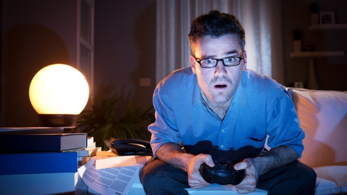 person playing video games