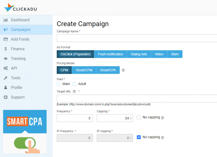 creating a campaign on clickadu