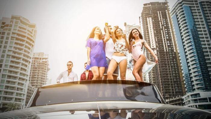 wealthy women in car