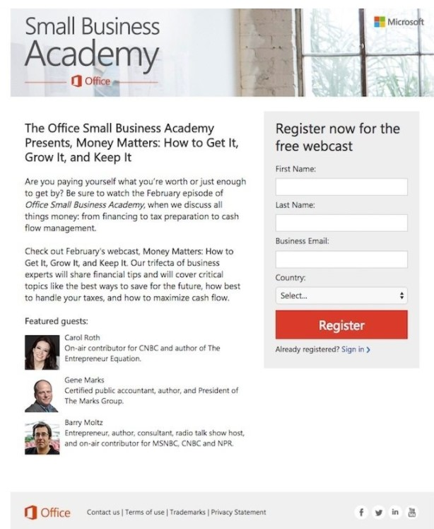 microsoft small business academy lead generation