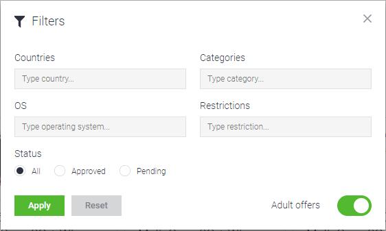 mobidea-tracker-offer-filters