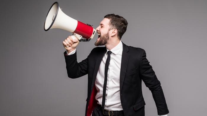 person using megaphone