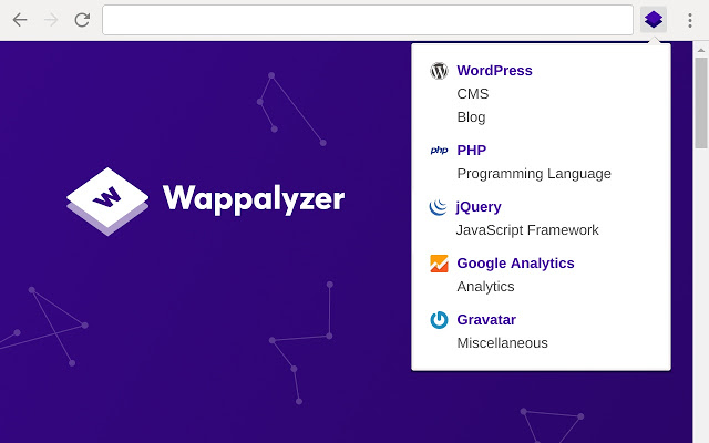 Wappalyzer chrome extension