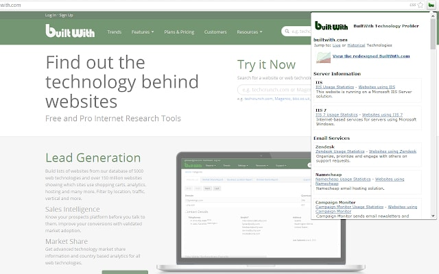 builtwith chrome extension