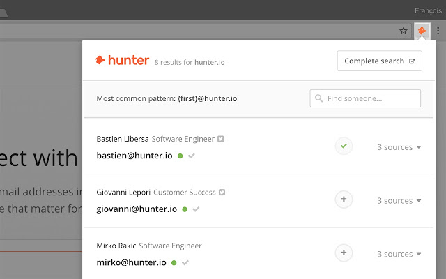 Hunter chrome extension