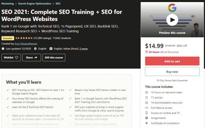 complete seo course on udemy