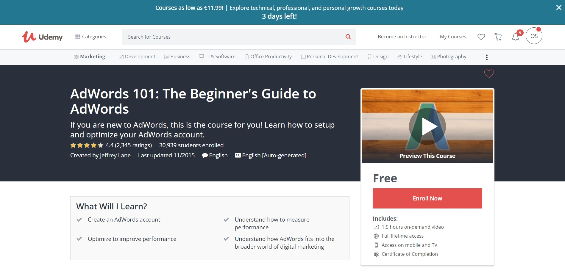 3. Udemy AdWords 101: The Beginner's Guide to AdWords