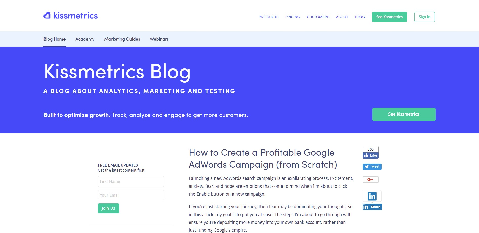 4. Kissmetrics – How to Create a Profitable Google AdWords Campaign (from  Scratch)