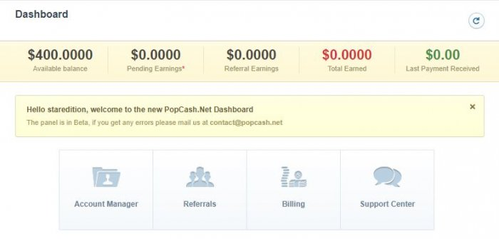 popcash user dashboard 2