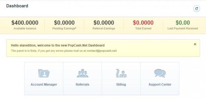 popcash user dashboard 2
