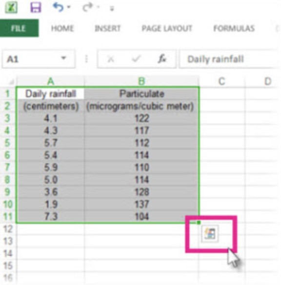 quick analysis excel