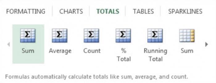 totals excel