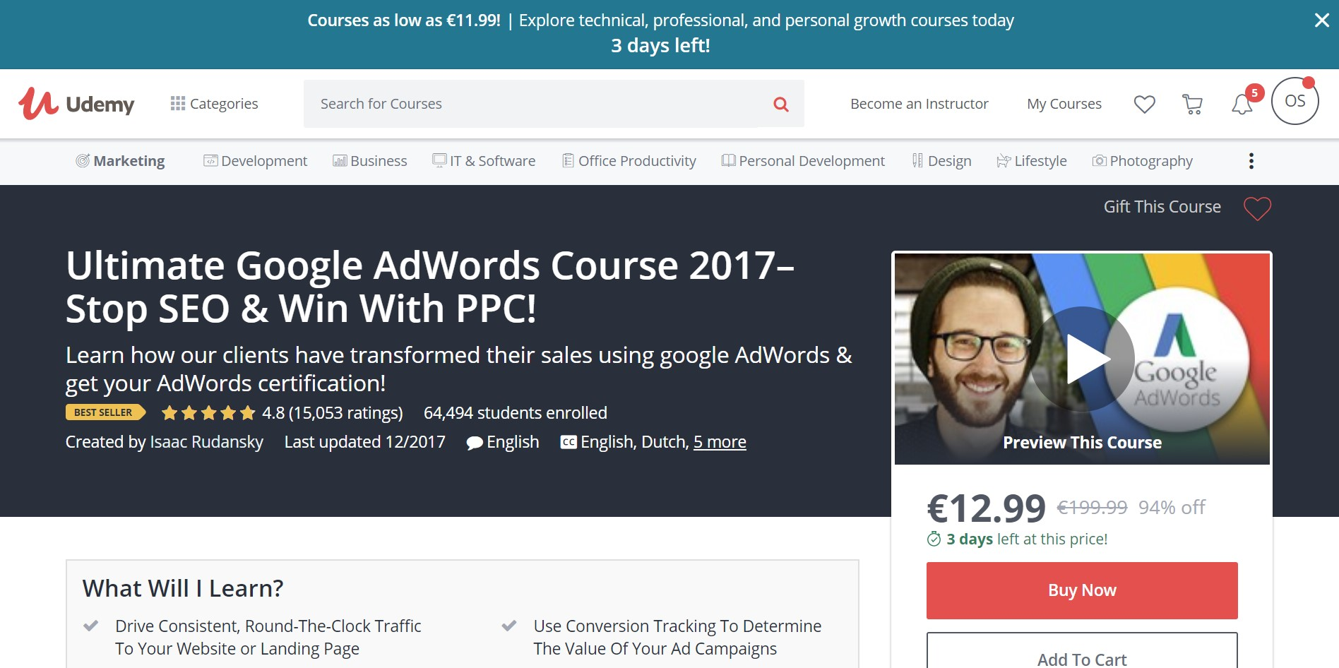 4. Udemy Course: The Ultimate Google AdWords Course 2017
