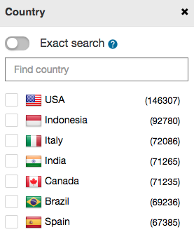 filter by country on spyover