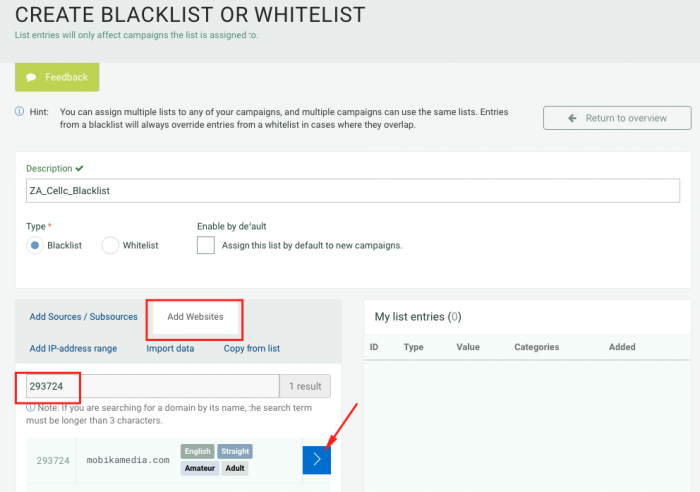 create blacklist or whitelist on plugrush