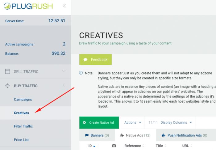 add creatives on plugrush
