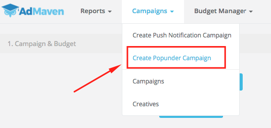 creating a popunder campaign on ad maven