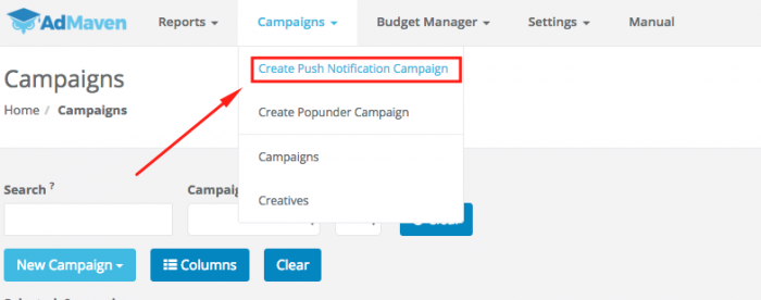 creating a push notification campaign on ad maven
