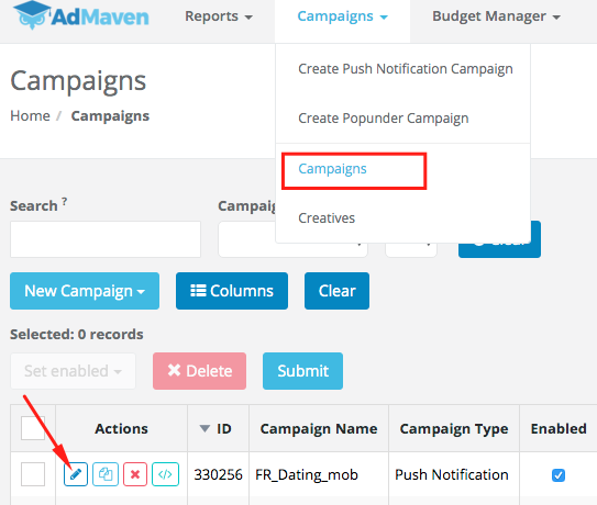 selecting campaigns to optimize on ad maven 2