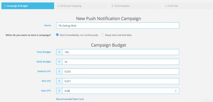 push notification campaign budget