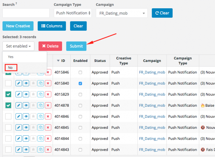 selecting campaigns to optimize on ad maven