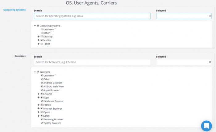 os, user agent and carrier targeting on ad maven