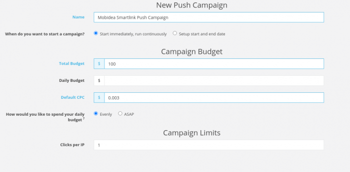 new push campaign on ezmob