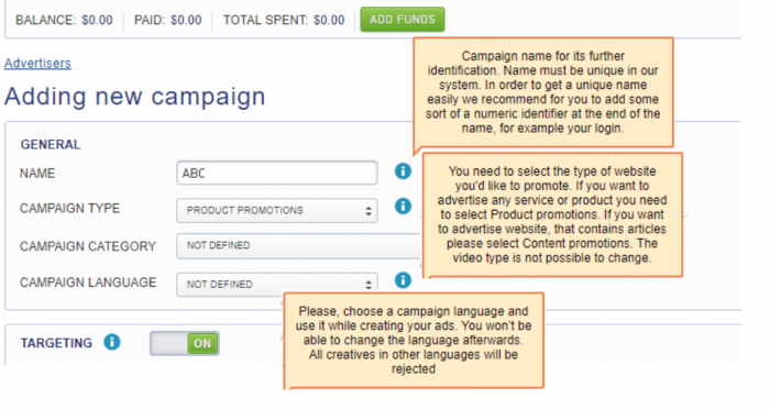 adding new campaign on mgid